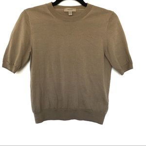 Burberry Uniform Khaki Short Sleeve Sweater Small